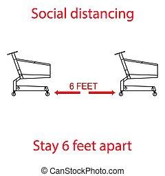 deux, épicerie, vous êtes, quand, autre, garder, shoppers, ligne, contrôle, longueur, entre, attente, vous, charrettes