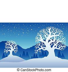 deux, 2, arbres hiver, neige