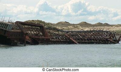 deux, abandonnés, bateaux