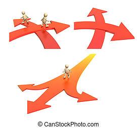 deux, aller, limite, directions, flèches, équipe, différent, specifying, 3d