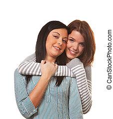 deux amis, dans, a, offre embrassent