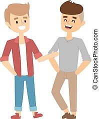 deux amis, vecteur, illustration.