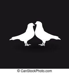 deux, arrière-plan., silhouettes, noir, blanc, colombes