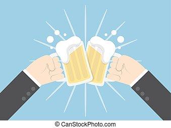deux, bière, mains, homme affaires, grillage, lunettes
