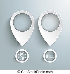 deux, blanc, emplacement, marqueurs, à, cercles, piad
