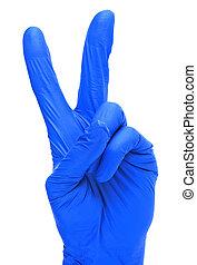 deux, bleu, fingers., fond, isolé, gant, blanc, projection, main