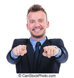 deux, business, points, mains, vous, homme