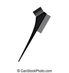 deux, côté, cheveux, noir, brosse, teinture, dessin animé