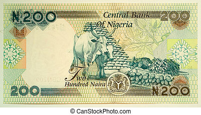 deux cent, naira., les, naira, est, les, monnaie, de, nigeria.