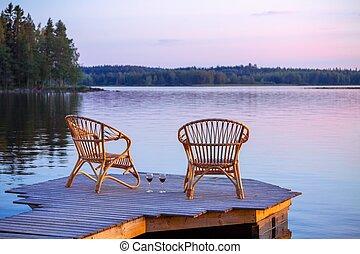 deux, chaises, sur, dock