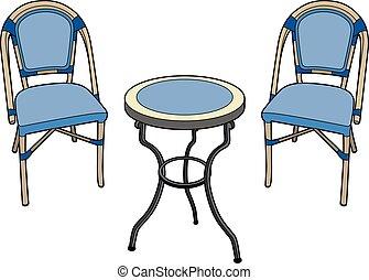 deux, chaises, table, jardin