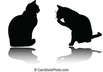 deux, chats, à, ombre, -, vecteur