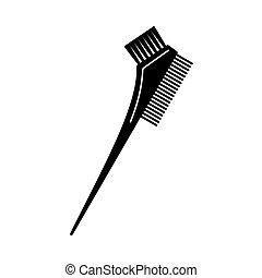 deux, cheveux, noir, brosse, teinture, blanc, côté