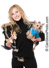 deux, chiens, joli, portrait, blond, joyeux