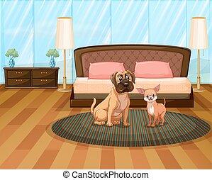 deux, chiens