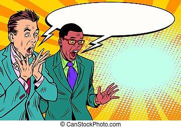 deux, choqué, groupe, hommes affaires, multi-ethnique
