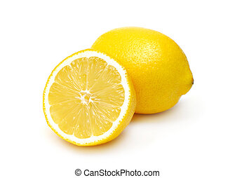deux, citrons, isolé