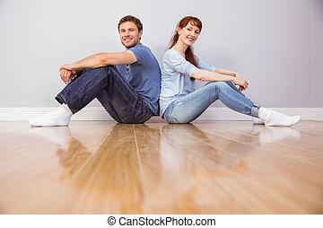 deux, couple, séance, plancher