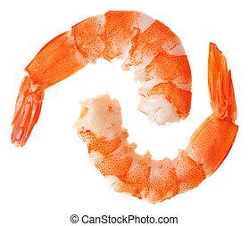 deux, cuit, unshelled, tigre, crevettes