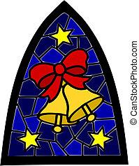 deux, doré, cloches noël, sur, bleu, vitraux, fenêtre.