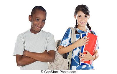 deux enfants, étudiants, retourner éduquer