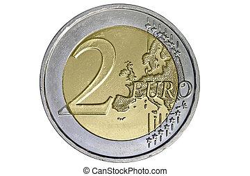 deux euro, monnaie, blanc, fond