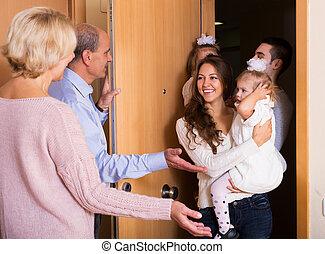 deux, famille, parents, grandiose, filles, visiter