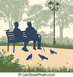 deux, femme âgée, silhouettes, dans parc