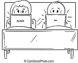 deux, femme, fonctionnement, couple, lit, informatique, ...