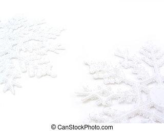 deux, flocons neige