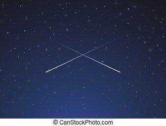 deux, fond, étoiles, tir