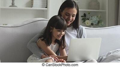 deux, générations, famille, games., informatique, heureux, ...