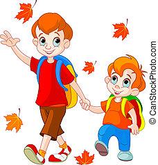 deux garçons, aller, à, école