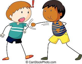 deux garçons, frapper, frapper