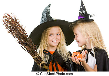 deux, girl, sorcières