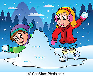 deux, gosses, lancement, boules neige