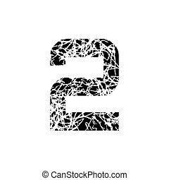 deux, grunge, symbole, nombre, conception, textured, 2., police