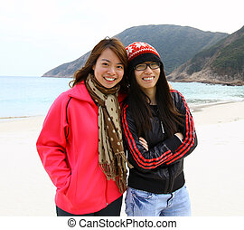 deux, heureux, asiatique, filles