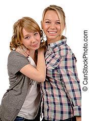 deux, heureux, jeunes femmes
