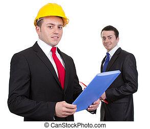 deux, hommes affaires