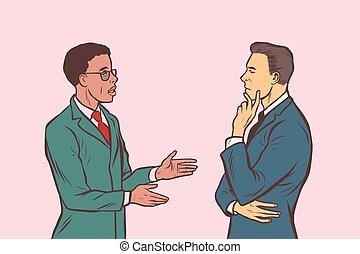 deux, hommes affaires, parler., multi groupe ethnique