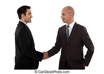 deux, hommes affaires, secousse, hands.