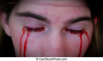 deux, horreur, yeux, saignement, agrafe