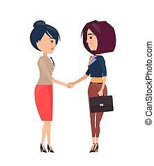 deux, illustration, gai, s, vecteur, femmes affaires