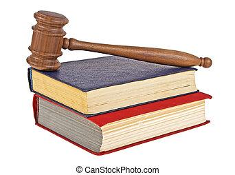 deux, isolé, juge, livres, fond, marteau, blanc