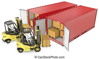 deux, jaune, ascenseur, camion, déchargement, récipients