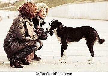 deux, jeune, mode, femmes, et, a, chien