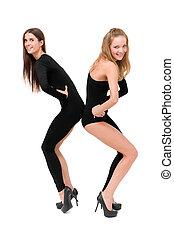 deux, jeune, sexy, femmes, danse
