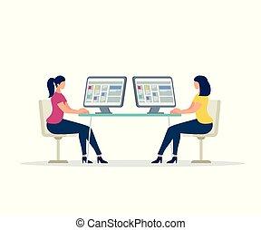 deux, jeunes femmes, caractères, travailler, ordinateurs