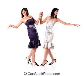 deux, jeunes femmes, danse